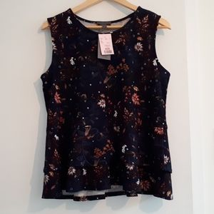 NWT Made in Canada Floral Peplum Tank